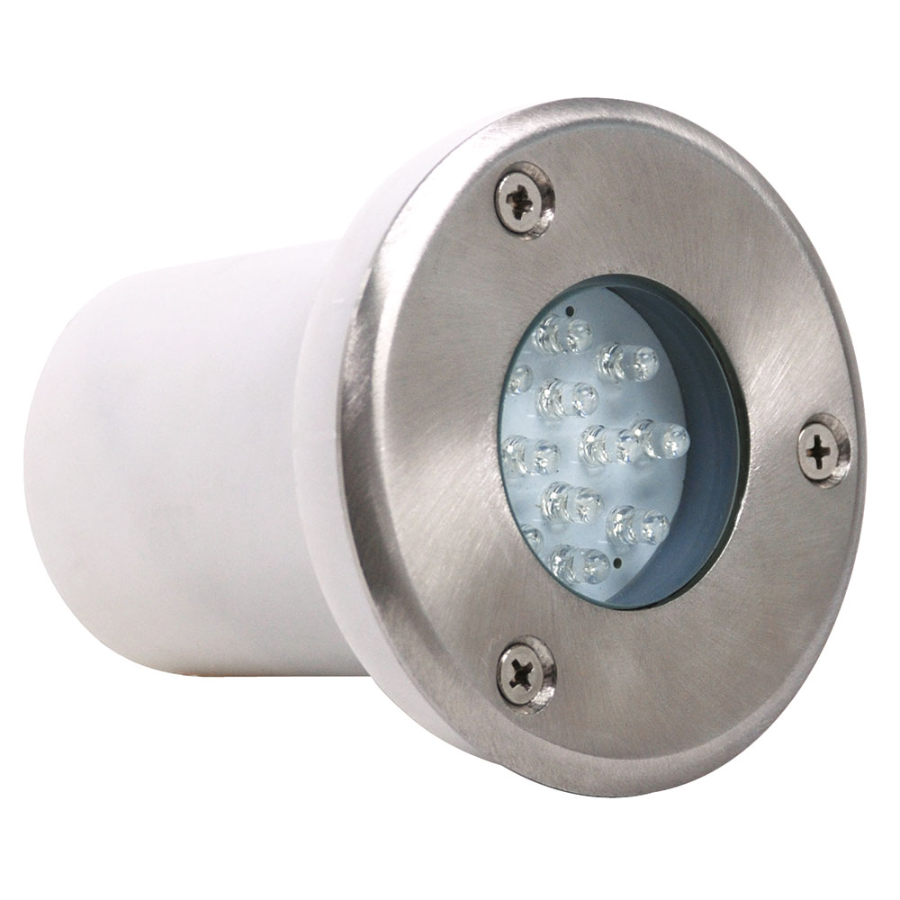 Spot led rond tanche 1 2w ip67 encastrer au sol for Spot exterieur orientable encastrable