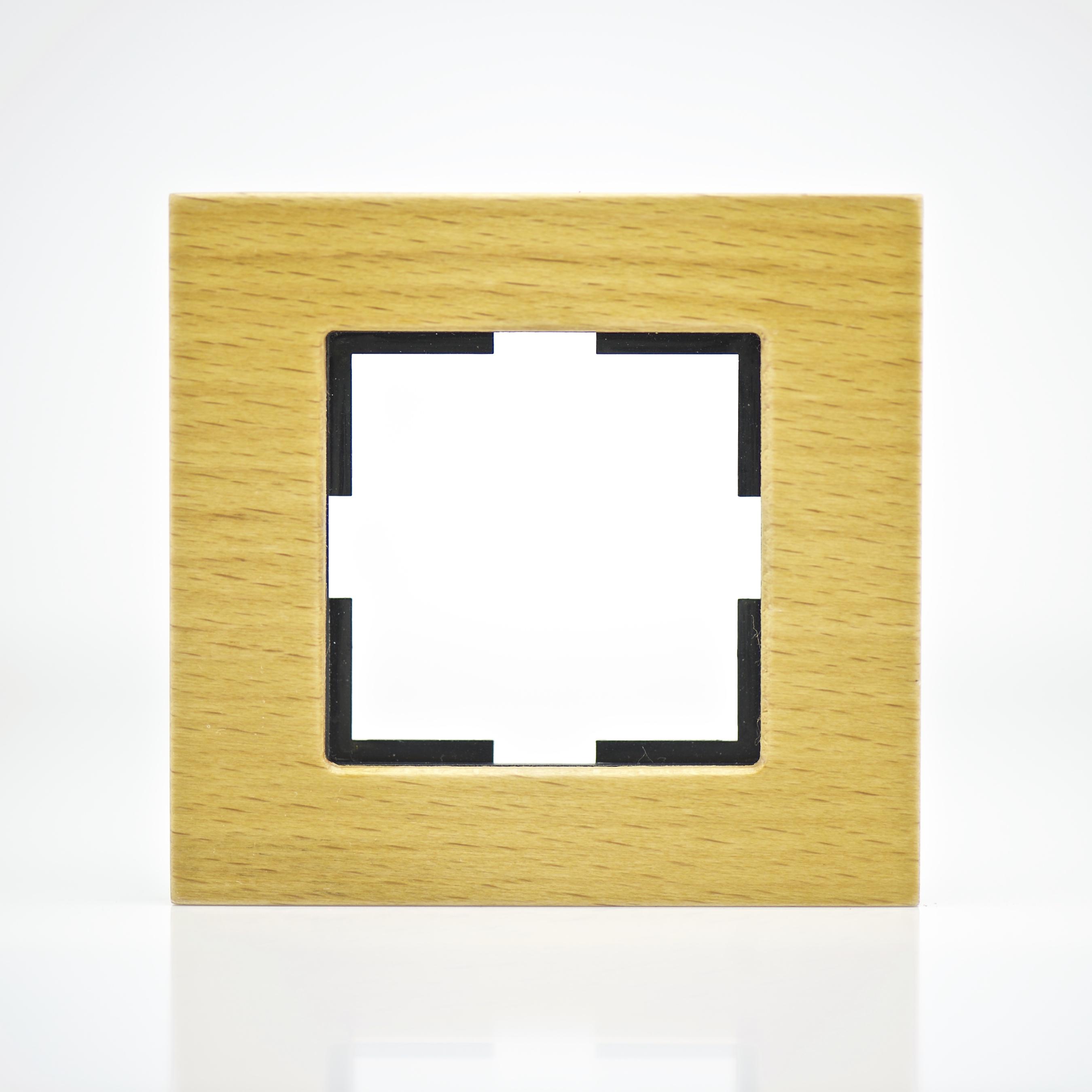 plaque de finition bois massif noix 1 poste 84x87x10mm distock mat riel lectrique et. Black Bedroom Furniture Sets. Home Design Ideas