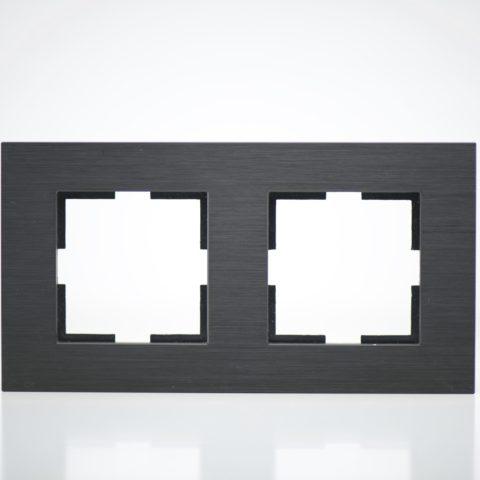 Plaque de finition double Métal Noir