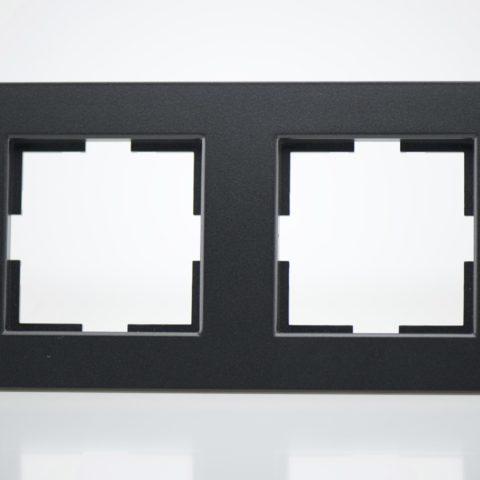 Plaque de finition double Plastique Noir