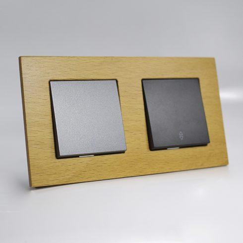 plaque de finition bois massif noix 2 postes 84x159x10mm distock mat riel lectrique et. Black Bedroom Furniture Sets. Home Design Ideas