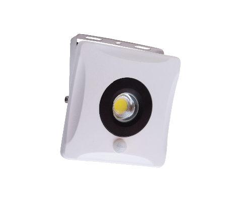 Projecteur LED extra plat 10W IP65 1000 Lumens 6000K YUKON-S avec détecteur Dim. 155x155x68.5mm