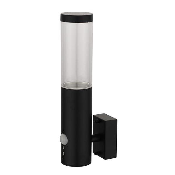Applique LED montante RIGA-W1S GU10 IP44 Noir avec détecteur Dim. 60x116x290mm